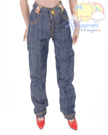 "Releaserain Doll Clothes Navy Blue with White Twill Denim Jeans Pants For 16"" Fashion Dolls Tonner Tyler Ellowyne Wilde Antoinette"