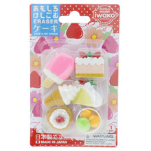 Iwako Japanese Eraser Cake & Ice Cream Dessert Miniatures Set of 6 Pieces Japan Import Made in Japan