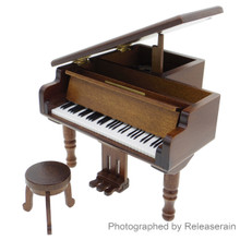 Nidec Sankyo 1:12~1:8 Scale Dollhouse Miniatures Wooden Grand Piano Musical Instrument Mechanical Music Box and Stool Chair Japan Import