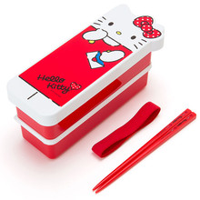 Sanrio Original Hello Kitty Shaped 2-Tier Leakproof Bento Lunch Box 600ml with Chopsticks and Belt Strap Japan Import Made in Japan