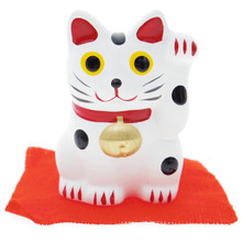"Japanese Hand Painted 2"" White Feng Shui Beckoning Lucky Cat Maneki Neko Mascot Left Hand Up Miniature Figurine with Red Cloth Mat Japan Import Made in Japan"