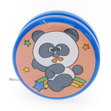 60s Vintage Tin Yo-Yo Toy With Rattle Bell Inside Panda on Rainbow Made in Japan