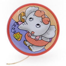 60s Vintage Tin Yo-Yo Toy With Rattle Bell Inside Phone Elephant Made in Japan