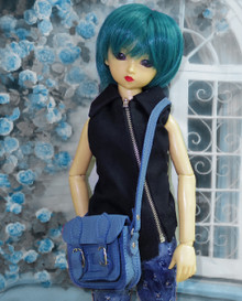 Releaserain Doll Accessory Handcrafted Teal Blue 100% Genuine Real Calf Leather Satchel Messenger Briefcase Shoulder Bag For 1/3 Scale SD, SD13, SD17, 58-70cm Tall BJD Ball Jointed Dolls