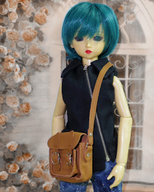 Releaserain Doll Accessory Handcrafted Almond Brown 100% Genuine Real Calf Leather Satchel Messenger Briefcase Shoulder Bag For 1/3 Scale SD, SD13, SD17, 58-70cm Tall BJD Ball Jointed Dolls