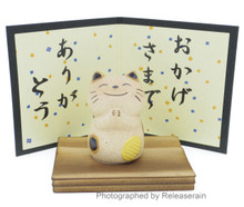 Japanese Culture Mascot Ceramic Arigatou Neko Thank You Cat Wooden Base Figurine Made in Japan