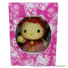 Asunarosya Sanrio Hello Kitty Red Daruma Doll Lucky Coin Piggy Bank Japan Import