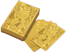 Traditional Japanese Beckoning Fortune Lucky Cat Maneki Neko Gold Poker Playing Cards  Japan Import