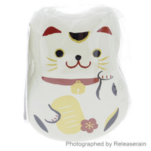 Hakoya Shiro Beckoning Lucky Cat Maneki Neko Two-Tier Bento Lunch Box (Ivory White Color) with Fork and Bento Belt Japan Import