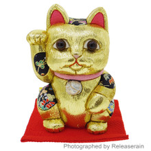 Kakinuma Kimekomi Ningyo Handmade Feng Shui Gold Maneki Neko Lucky Cat Doll Figure Large Made in Japan