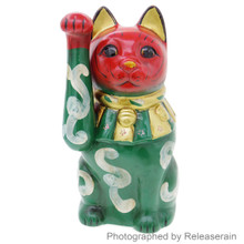 Japanese 19cm Red Gold Green Antique Colored Arabesque Maneki Neko Lucky Cat Figurine Made in Japan