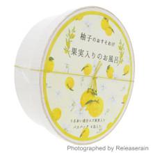 Charley Japanese Citrus Yuzu Fruit Bath Salt Osusowake 4x30g in a Round Wooden Box Gift Set Made in Japan