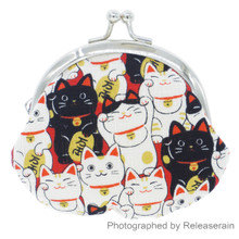 Japanese Maneki Neko Lucky Cat Kisslock Cotton Coin Purse Bag Made in Japan