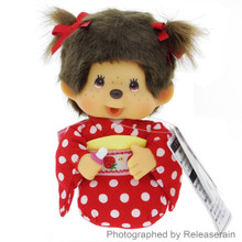 Original Sekiguchi Japan Strawberry Kimono Monchhichi Girl Seiza Sitting Plush Doll