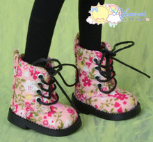 "Doll Shoes Martin Lace-Up Boots Flowers Pink for Lati Yellow Pukifee BJD 8"" Kish Riley,Riki Blythe Dolls"