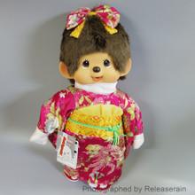 Original Sekiguchi Monchhichi Girl Gala Furisode Kimono L Size 45cm Stuffed Plush Doll Japan Import
