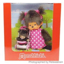 Original Sekiguchi S Size Monchhichi Chan Mommy with Bebichhichi Baby in Stroller Stuffed Plush Dolls Gift Box Set Japan Import