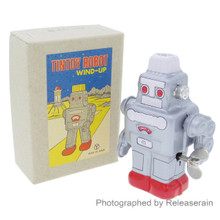 Japanese Retro Vintage Antique Litho Tin Toy Wind-Up Robot Silver Made in Japan