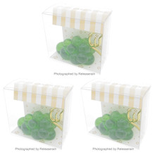 Artha 3D Lucite Clear Green Grape Fruit Card Stand Place Card Holder Set of 3 Pieces Japan Import