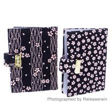 Japanese Kyoto Inden-Style Pink Sakura Snap Closure Black Business Card Case Set of 2 Pieces Made in Japan