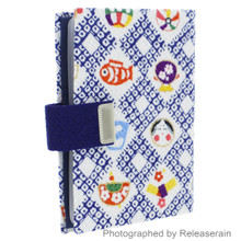Japanese Traditional Mascots Kimono Chirimen Fabric Snap Closure Business Card Case Made in Japan