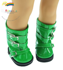 """Releaserain Doll Shoes Buckles Rain Boots Patent Green For 18"""" American Girl Dolls"""
