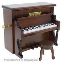 Nidec Sankyo 1:12~1:8 Scale Dollhouse Miniatures Wooden Piano Musical Instrument Mechanical Music Box and Stool Chair Japan Import