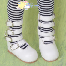 Releaserain 4-Strap Mary Jane Buckled Shoes Boots White for Regular to Large Feet MSD Size Kaye Wiggs Dollfie BJD Dolls