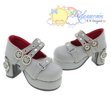 Releaserain Doll Shoes Double Buckle Stud Chunky Platform Heel Mary Jane Grey For 1/3 Scale SD Girl BJD Dollfie Dolls