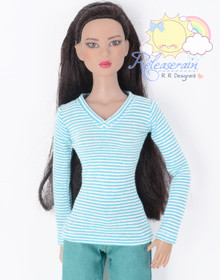 "Doll Clothes V-Neck Glitter Blue with White Stripes Long Sleeves Tee Shirt for 16"" Tonner Tyler Ellowyne Dolls"
