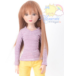 "Doll Clothes V-Neck Glitter Burgundy with White Stripes Long Sleeves Tee Shirt for 16"" Tonner Tyler Ellowyne Dolls"