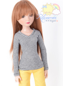 "Doll Clothes V-Neck Glitter Black with White Stripes Long Sleeves Tee Shirt for 16"" Tonner Tyler Ellowyne Dolls"
