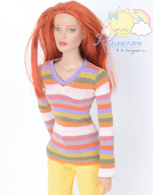 "Doll Clothes V-Neck Rainbow Stripes Glitter Long Sleeves Tee Shirt for 16"" Tonner Tyler Ellowyne Dolls"