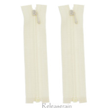 """4"""" Tiny Separating DIY Doll Clothes Jacket Nylon Coil Size #0 Open End Sewing Zippers Beige Set of 2 Pieces"""