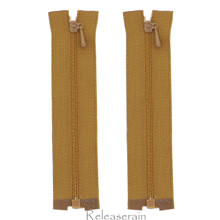 "4"" Tiny Separating DIY Doll Clothes Jacket Nylon Coil Size #0 Open End Sewing Zippers Brown Set of 2 Pieces"