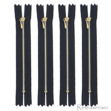 "4"" Gold Brass Close-End #0 Tiny Teeth Doll Clothes Black Sewing Zippers 4pcs"