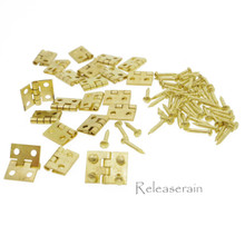 10x8mm Gold Metal 20 Hinges 80 Nails For DIY 1/12 Dollhouse Miniature Furniture