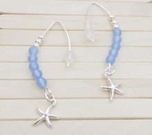 Releaserain Artist Handcrafted Jewelry Natural Ocean Blue Chalcedony Gemstone S925 Sterling Silver Starfish with 999 Fine Silver Earwire Hooks Earrings