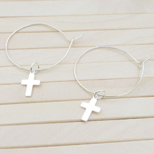 Releaserain Artist Handcrafted Jewelry S925 Sterling Silver Hoop Cross Charm Earrings