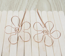 Releaserain Artist Handcrafted Jewelry Copper Wire Flower Dangle Earrings