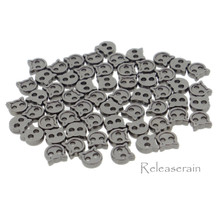 4mm Kitty Cat Shaped DIY Doll Clothes Sewing Sew On Plated Metal Miniature Buttons Charcoal 60pcs