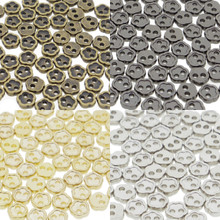 4mm Flower Shaped DIY Doll Clothes Sewing Sew On Plated Metal Miniature Buttons Bronze Charcoal  Gold Silver 4 Colors Each  Color 15 Pieces (Total 60 Pieces)