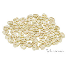 4mm Heart Shaped DIY Doll Clothes Sewing Sew On Plated Metal Miniature Buttons Gold 60pcs