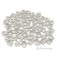 4mm Heart Shaped DIY Doll Clothes Sewing Sew On Plated Metal Miniature Buttons Silver 60pcs