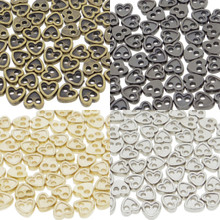 4mm Heart Shaped DIY Doll Clothes Sewing Sew On Plated Metal Miniature Buttons Bronze Charcoal  Gold Silver 4 Colors Each  Color 15 Pieces (Total 60 Pieces)