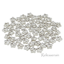 4mm Star Shaped DIY Doll Clothes Sewing Sew On Plated Metal Miniature Buttons Silver 60pcs