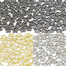 4mm Star Shaped DIY Doll Clothes Sewing Sew On Plated Metal Miniature Buttons Bronze Charcoal  Gold Silver 4 Colors Each  Color 15 Pieces (Total 60 Pieces)