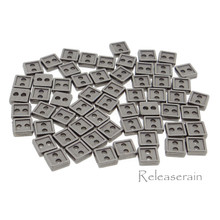 4mm Square Shaped DIY Doll Clothes Sewing Sew On Plated Metal Miniature Buttons Charcoal 60pcs