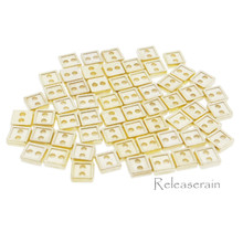 4mm Square Shaped DIY Doll Clothes Sewing Sew On Plated Metal Miniature Buttons Gold 60pcs