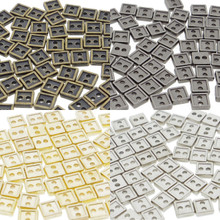 4mm Square Shaped DIY Doll Clothes Sewing Sew On Plated Metal Miniature Buttons Bronze Charcoal  Gold Silver 4 Colors Each  Color 15 Pieces (Total 60 Pieces)
